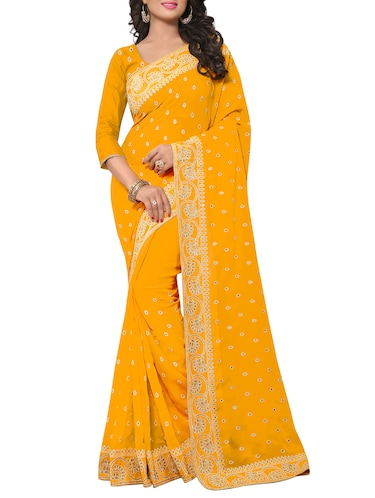 embellished floral border stone work saree with blouse - 15414416 - Standard Image - 1
