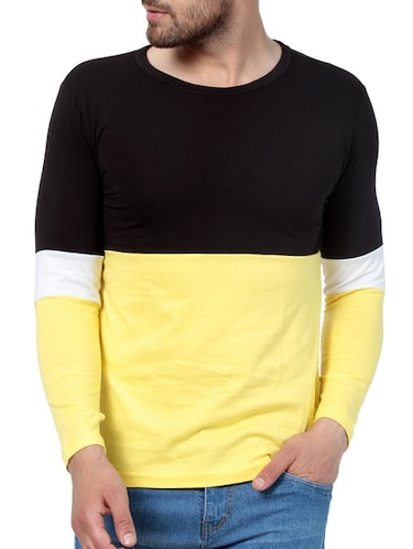 yellow cotton color block t-shirt - 15414436 - Standard Image - 1