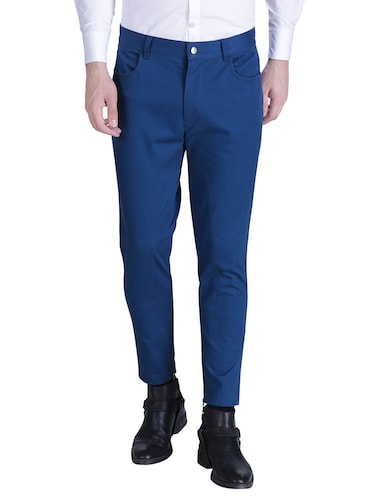 blue cotton chinos casual trousers - 15414569 - Standard Image - 1