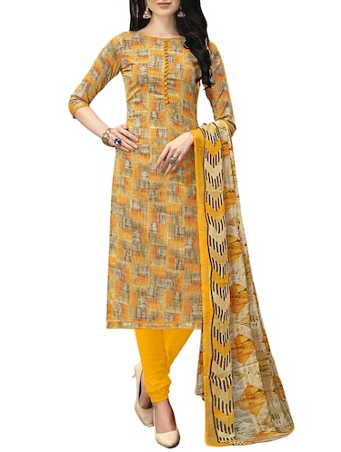 Printed unstitched churidaar suit - 15414636 - Standard Image - 1