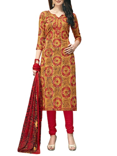 Printed unstitched churidaar suit - 15414640 - Standard Image - 1