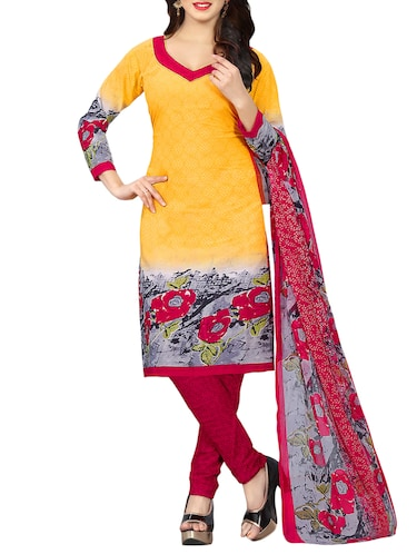 Printed unstitched churidaar suit - 15414670 - Standard Image - 1