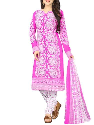 Printed unstitched churidaar suit - 15414676 - Standard Image - 1