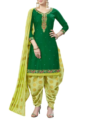Embroidered unstitched patiyala suit - 15414683 - Standard Image - 1