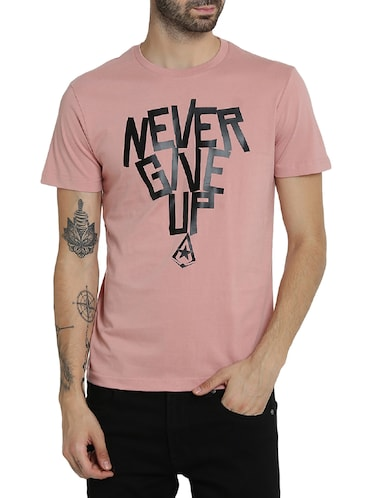 pink cotton chest print t-shirt - 15414709 - Standard Image - 1