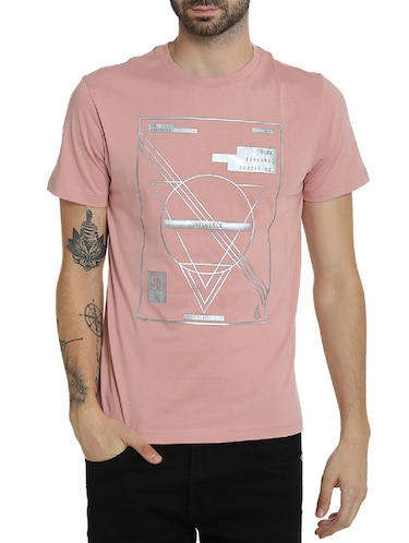 pink cotton chest print t-shirt - 15414711 - Standard Image - 1