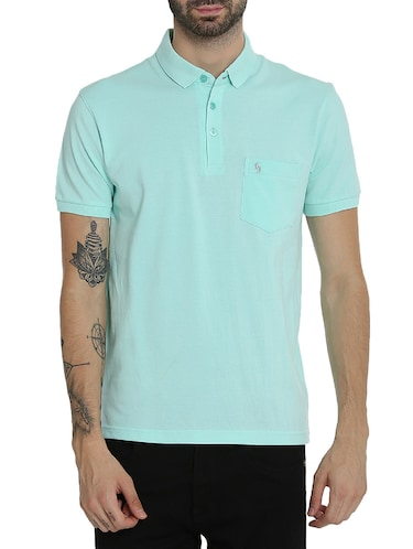 light blue cotton pocket  t-shirt - 15414726 - Standard Image - 1