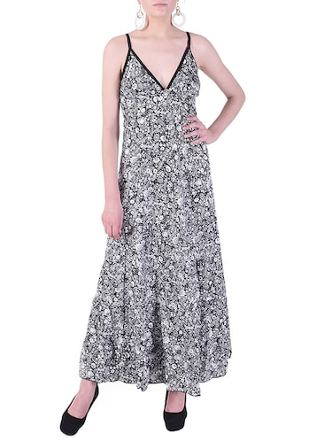 plunge neck maxi dress - 15414743 - Standard Image - 1