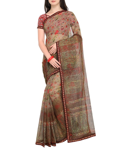 Floral printed saree with blouse - 15414825 - Standard Image - 1