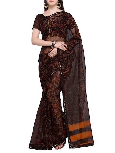 Ditsy floral printed saree with blouse - 15414827 - Standard Image - 1