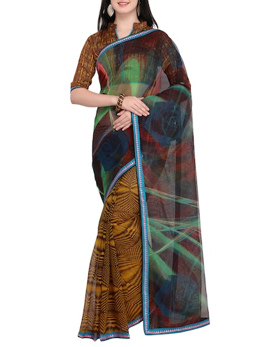 Abstract printed saree with blouse - 15414828 - Standard Image - 1