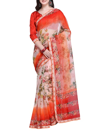 Floral printed saree with blouse - 15414835 - Standard Image - 1