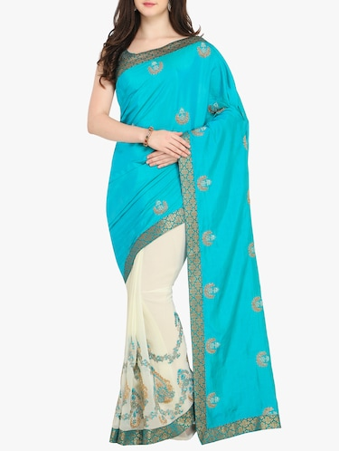 Embroidered half and half saree with blouse - 15414978 - Standard Image - 1