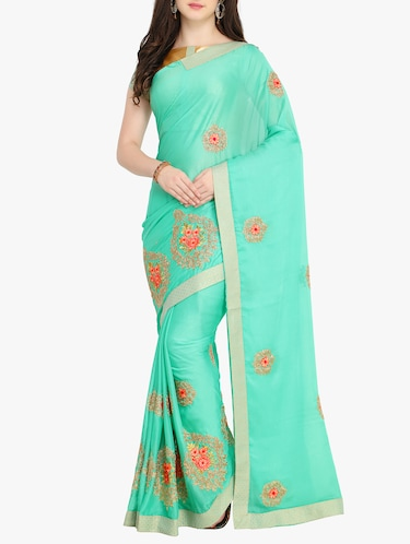 Floral embroidered saree with blouse - 15414979 - Standard Image - 1