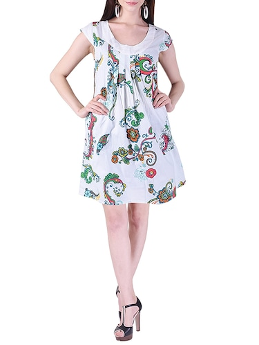 printed pleated a-line dress - 15414983 - Standard Image - 1