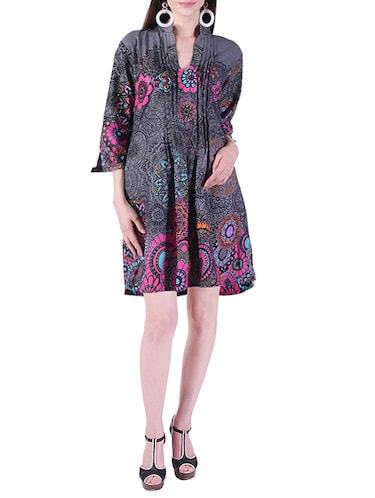 pleated printed a-line dress - 15414984 - Standard Image - 1