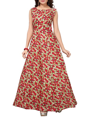 red satin fit & flare gown - 15415021 - Standard Image - 1