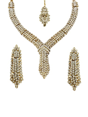 Necklace, earrings & maangteeka set - 15415405 - Standard Image - 1