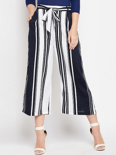 striped belted palazzo - 15415732 - Standard Image - 1