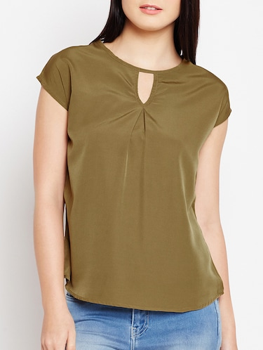 keyhole neck button back top - 15415743 - Standard Image - 1
