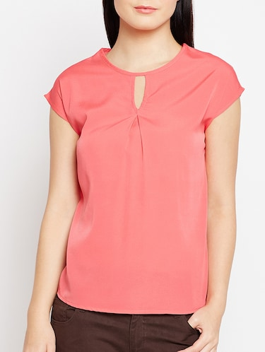 keyhole neck button back top - 15415744 - Standard Image - 1
