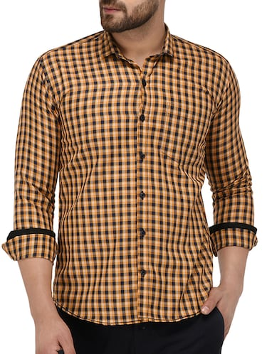yellow cotton casual shirt - 15415883 - Standard Image - 1