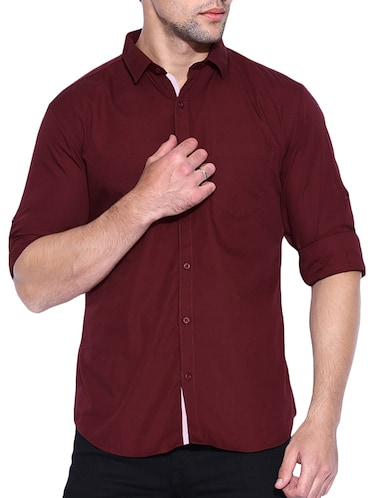 red cotton casual shirt - 15415888 - Standard Image - 1