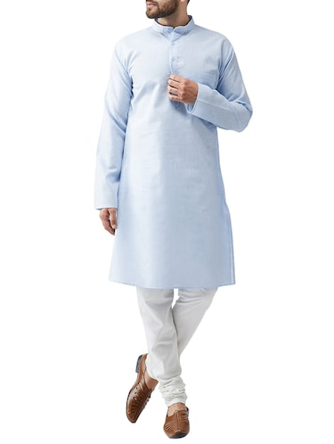 blue cotton kurta pyjama set - 15415923 - Standard Image - 1
