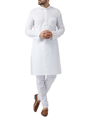 white cotton kurta pyjama set - 15415938 - Standard Image - 1