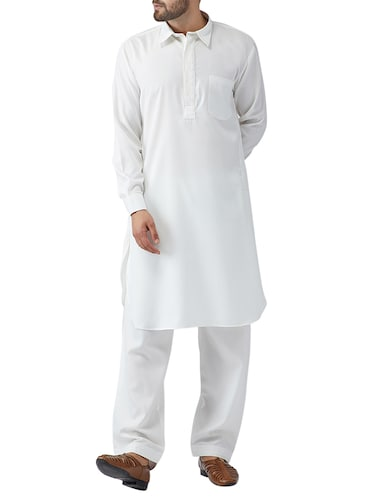 white cotton pathani set - 15415939 - Standard Image - 1