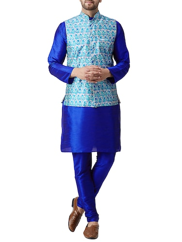 blue silk blend kurta pyjama set with nehru jacket - 15415966 - Standard Image - 1