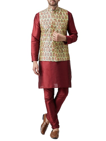 red silk blend kurta pyjama set with nerhu jacket - 15415971 - Standard Image - 1