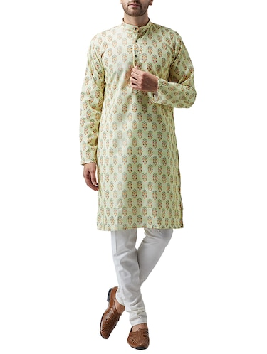 green cotton kurta pyjama set - 15415979 - Standard Image - 1