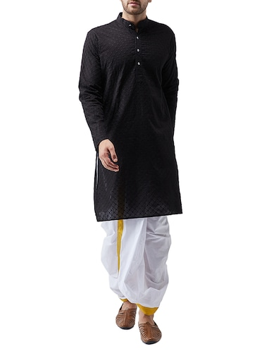 black cotton dhoti kurta set - 15415984 - Standard Image - 1