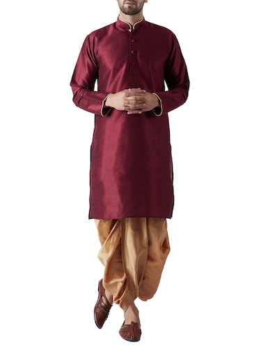 maroon and gold silk blend dhoti kurta set - 15415996 - Standard Image - 1