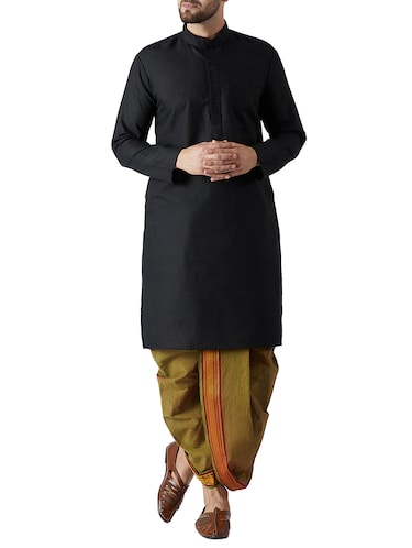 black and green cotton dhoti kurta set - 15416019 - Standard Image - 1