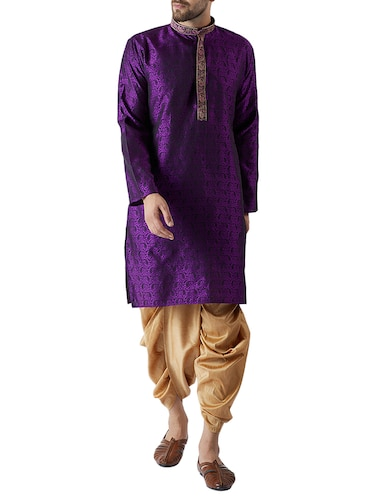 purple and gold silk blend dhoti kurta set - 15416034 - Standard Image - 1