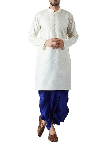 white and royal blue silk blend dhoti kurta set - 15416035 - Standard Image - 1