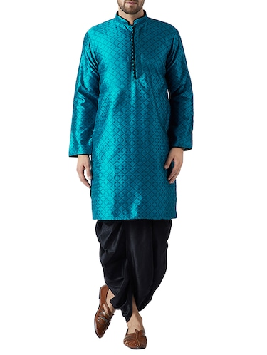 blue and black silk blend dhoti kurta set - 15416039 - Standard Image - 1