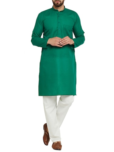 dark green cotton kurta pyjama - 15416087 - Standard Image - 1