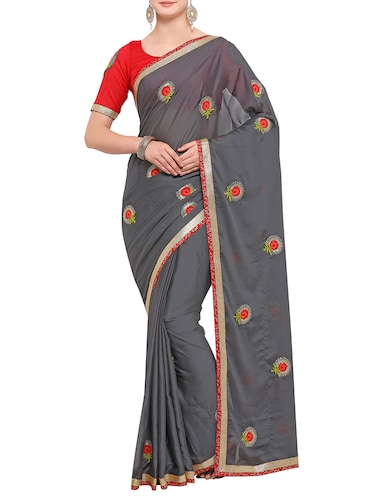 floral thread embroidered saree with blouse - 15416241 - Standard Image - 1