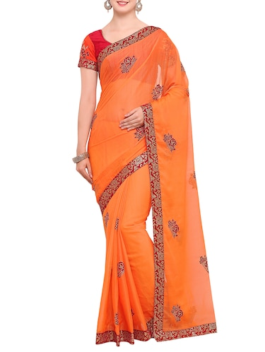 contrast floral thread embroidered saree with blouse - 15416242 - Standard Image - 1