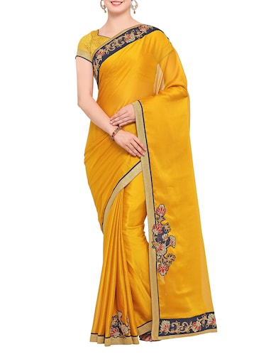 floral border patchwork saree with blouse - 15416244 - Standard Image - 1