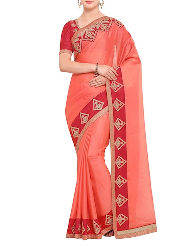 contrast embroidered border saree with blouse - 15416253 - Standard Image - 1