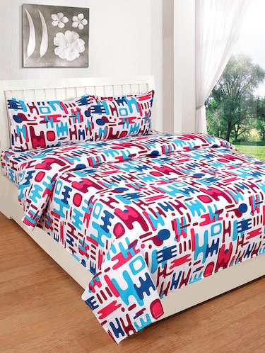 Polycotton double bedsheet with 2 pillow covers - 15416345 - Standard Image - 1