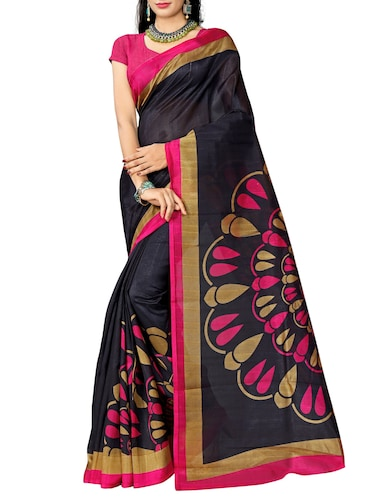 Contrast bordered bhagalpuri saree with blouse - 15416455 - Standard Image - 1