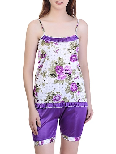 floral nightwear shorts set - 15416605 - Standard Image - 1
