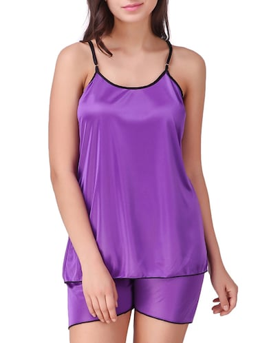 solid nightwear shorts set - 15416607 - Standard Image - 1