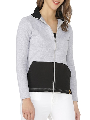 color blocked zip up sweatshirt - 15416633 - Standard Image - 1