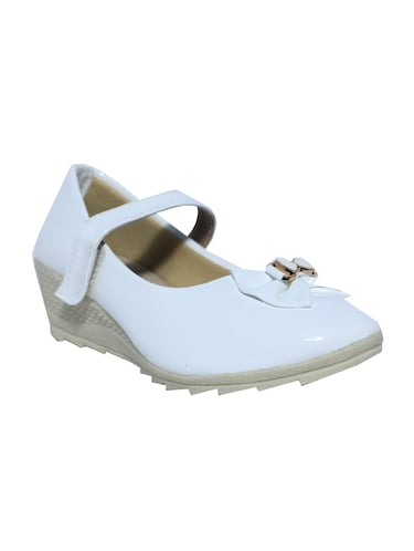 white leatherette heel wedges - 15416700 - Standard Image - 1